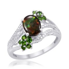 Liquidation Channel | Canadian Ammolite and Russian Diopside Ring in Platinum Overlay Sterling Silver (Nickel Free)