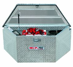 """Delta Pro 416000 48"""" Long Bright Aluminum Trailer Tongue Truck Box. Replacement for flimsy plastic LP Gas and Battery box. Has room for a second battery and/or LP Tank plus tools!"""