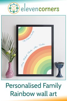 Custom family rainbow print - add your family surname and family names. Unique personalised family gift idea. #elevencorners #familygift #rainbow #personalisedprint