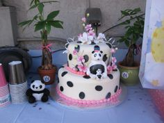 panda baby shower cake I feel as if instead of spots I should have done the bottom all black & top white but it was delish & still adorbs