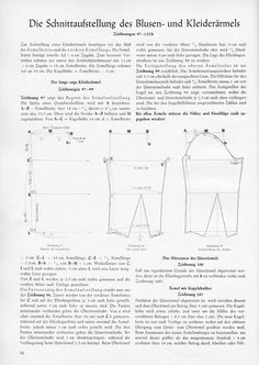 1954's sleeves patterns (1/2). Can be used with the Winter Dirndl pattern to complete the outfit.