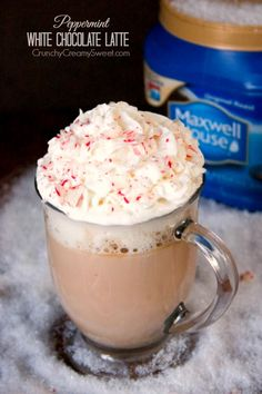 Peppermint White Chocolate Latte - Maxwell House coffee espresso - milk - half and half - white chocolate chips - peppermint extract - whipped cream - candy canes