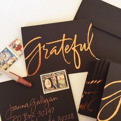 copper foil on black | anne robin calligraphy