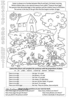 Holiday Worksheets for Kids. 20 Holiday Worksheets for Kids. Holiday Worksheets for Kids 1 Grammar Activities, English Activities, Comprehension Activities, Easter Activities, Craft Activities For Kids, Picture Comprehension, Easter Worksheets, Easter Printables, Kindergarten Worksheets