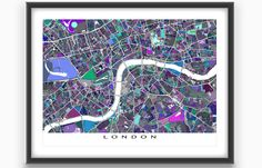 Had a great trip to London England? Planning a vacation? Or just lucky enough to live there? Then this London map print is for you!  This city map has a modern, abstract art design made from of lots of little blue, amethyst purple and sage green coloured shapes. Each shape is actually a city block or a piece of land - and these shapes combine like a mosaic to form this #London print. #LondonMap #LondonEngland #MapArt