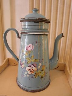 Enameled  French COFFEE POT in Blue hand by villavillacolle, $180.00