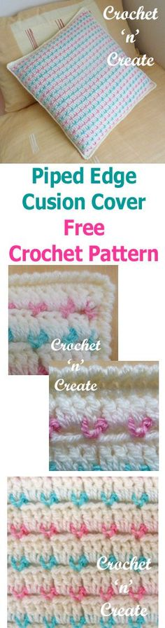 Free crochet pattern for piped edge cushion cover.