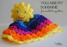 You are my Sunshine Lovey.  Free pattern by #cre8tioncrochet