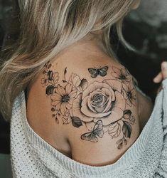 Butterfly Tattoo On Shoulder, Back Of Shoulder Tattoo, Shoulder Tattoos For Women, Floral Shoulder Tattoos, Shoulder Blade Tattoos, Butterfly With Flowers Tattoo, Lotus Flower, Tattoos For Women Flowers, Beautiful Tattoos For Women