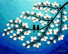 Birds on tree Original artwork Modern Acrylic art contemporary flower Canvas art Aqua Blue Home wall art decor - floral bird art Tree Artwork, Tree Wall Art, Purple Canvas Art, Original Artwork, Original Paintings, Acrylic Paintings, Love Birds Painting, Flower Canvas, Acrylic Art
