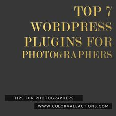 Best WordPress Plugins For Photographers (in our opinion, anyway). Check out this list of some of our favorite things http://www.colorvaleactions.com/blog/best-wordpress-plugins-for-photographers/