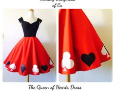 DIY Queen of Hearts Dress girls | The Queen of Hearts Dress, Sexy ROC KABILLY Burlesque Party Dress, Red ...