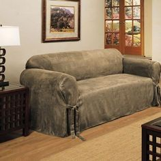 micro suede slipcover sofa loveseat chair furniture cover taupe brown black black furniture covers
