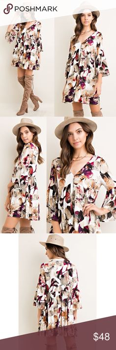 1 HR SALESOPHIA floral bell sleeve dress BERRY Fully-lined, non-sheer. Floral print button front dress with bell sleeves. Pair with cute boots or booties & work your magic! Super darling & comfy! NO TRADE, PRICE FIRM Bellanblue Dresses