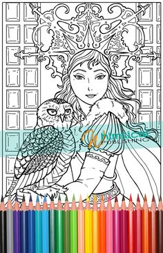 Snow Queen, Fairy Tale coloring pages, coloring book pages, owl, princess, grown-up coloring, nature, manga coloring pages, owls, anime