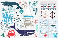 Nautical Sea clip art collection Graphics More than 13000 cliparts, vectors of floral backgrounds and invitation cards you can find on my site by Ivan Negin Sea Clipart, Nautical Clipart, Nautical Art, Illustrations, Paint Markers, Watercolor And Ink, Collage Art, Vector Free, How To Draw Hands