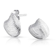 Bling Jewelry Bling Jewelry Nautical Seashell Clam Shell Sterling... ($13) ❤ liked on Polyvore featuring jewelry, earrings, grey, sterling silver jewelry, sterling silver earrings, post back earrings, sterling silver stud earrings and gray earrings