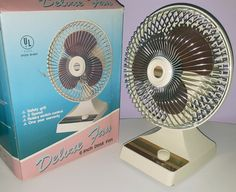 KUO HORNG VINTAGE ELECTRIC FAN PERSONAL MINI DESK MODEL w/ ORIG BOX