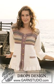 "Lady of the Cliffs - Crochet DROPS jacket with stripes in ""Muskat"". SIZE S - XXXL - Free pattern by DROPS Design"