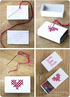 DIY cross-stitched matchbox for small Valentines gifts Matchbox Crafts, Matchbox Art, Diy Paper, Paper Crafting, Craft Gifts, Diy Gifts, Handmade Gifts, Diy Projects To Try, Craft Projects