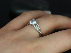 Cassidy 14kt White Gold Round White Sapphire Celtic Knot Engagement Ring (Other Metals and Stone Options Available) on Etsy, $900.00