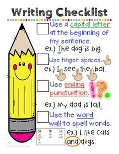 Writing Checklist Anchor Chart- Kindergarten, first grade, second grade
