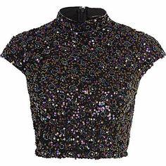 Navy sequin embellished crop top - crop tops / bralets / bandeau tops - tops - women