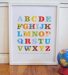 Patterned Alphabet Print Primary Colors modern graphic nursery wall art poster - 11x14 $25 Etsy
