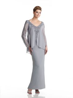 Capri by Mon Cheri - CP21488 - Mock two-piece chiffon slim A-line dress with sheer long sleeves and wide V-neckline accented with hand-beaded lace applique, draped cape-like overlay bodice, suitable as a dress for the mother of the bride or dress for the mother of the groom. Embellish by David Tutera earring style Isabelle and bracelet style Jacqueline Bangle sold separately.Sizes: 4 – 20, 16W – 26WColors: Wine, Silver, Peacock, Blue Willow