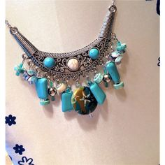 Faux Turquoise Beaded necklace/delicate Silver chain necklace/Silver... ($19) via Polyvore featuring jewelry, necklaces, lobster claw necklace, imitation jewelry, silver chain necklace, beaded necklaces and beaded chain necklace