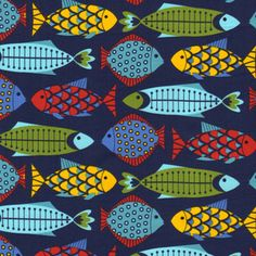 I am loving the bold fabrics... Fish in the Sea in Navy - Timeless Treasures