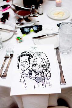 Fun caricature favors make for an entertaining reception! Photo by Hampton Morrow Photography. #wedding #caricature #favor