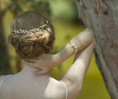 bridal Hair accessories , Brides Headpieces , Gentle Gold Leafs Hair Wreath , gold Leaf Crown , Wedding Headband , bridal accessories  tiara