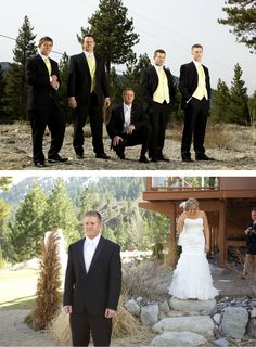 A pop of yellow on the groomsmen