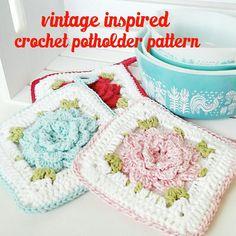 Crochet Flower Potholder PDF Pattern