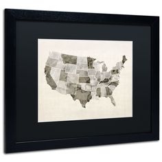'United States Watercolor Map' by Michael Tompsett Framed Graphic Art