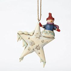 Jim Shore for Enesco Heartwood Creek Snowman on Star Ornament, This celestial Snowman is precariously perched on the point of a snow-covered star. It is a whimsical Folk art scene crafted with the heartfelt style that is unmistakably Jim shore. Star Ornament, Snowman Ornaments, Hanging Ornaments, Christmas Tree Ornaments, Christmas Decorations, Holiday Decor, Design Your Dream House, Home Decor Shops, Collectible Figurines