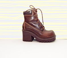 SZ 9 _ 90s Deadstock Brown Lace up Platform Ankle Boots by Idlized, $80.00