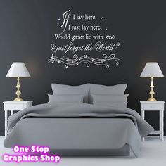 IF I LAY HERE SNOW PATROL WALL ART QUOTE STICKER -  BEDROOM LOUNGE SONG DECAL  1stopgraphicsshop loves this wall sticker <3