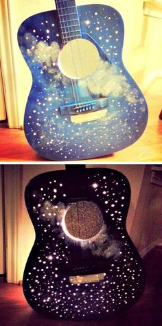 Upcycled Guitar Lamp (Moon and Stars) - wow! Heh, looks nice, like a decoration, but don't think the sound would sound nice xP Guitar Crafts, Guitar Diy, Guitar Shelf, Guitar Display, Diy Recycling, Diy And Crafts, Arts And Crafts, Guitar Painting, Ideias Diy