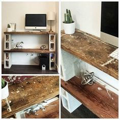 Yaay! Our simple little side table/ computer ledge/soon to be Playstation area made from cement blocks and found wood. Works great with our industrial / lofty theme and cost less than $5 to make :) #cinderblocks #cinderblock #diy #table #reclaimed #industrial #furniture #rustic #homedecor