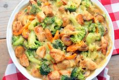 Broccoli casserole with chicken, mushrooms and potatoes