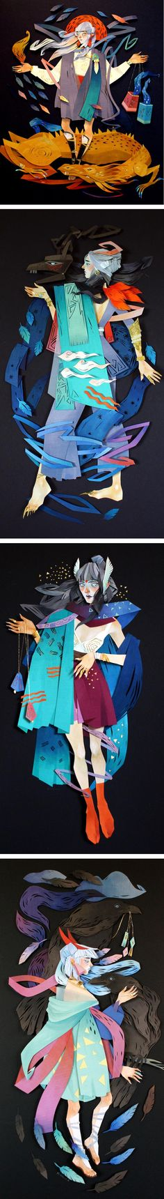 Morgana Wallace crafts fantastical female heroines with cut-paper collage. Each piece has multiple layers and textures that produce a 3D effect.