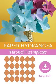 These Giant Hydrangea paper flowers are so gorgeous and easy to craft. Watch my video tutorial and download templates to learn how you can make it! #handmadepaperflowers #diyhydrangea #diyhomedecor #ogcrafts How To Make Paper Flowers, Paper Flowers Wedding, Paper Flowers Diy, Diy Paper, Paper Crafts, Paper Bouquet Diy, Unique Flower Arrangements, Flower Video, Paper Flower Tutorial