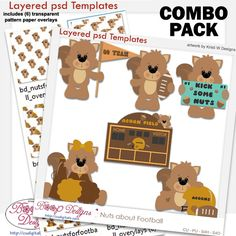 Nuts for Footbal Layered Templates & Overlay COMBO Set, team. digital, cu , commercial, clipart, scrap, scrapbooking, graphics
