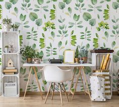 Indoor Plants Discover Home herbarium Contemporary - Office - Wall Murals - Nature Pixers We live to change Cool Office, Study Office, Office Walls, Green Home Offices, Cosy Home, Contemporary Office, Home Staging, Decoration, Wall Prints