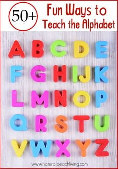 50 Fun Ways to Teach the Alphabet with Games Hands on learning books crafts Sensory Play Free Printables Tips and ideas on How to Teach the Alphabet Alphabet Games, Teaching The Alphabet, Alphabet Crafts, Learning Letters, Kids Learning, Alphabet Books, Spanish Alphabet, Teaching Letter Sounds, Teaching Abcs
