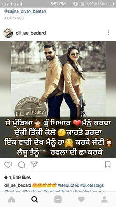 Punjabi Love Quotes, Love Quotes In Hindi, Sad Quotes, Qoutes, Life Quotes, Desi Love, Punjabi Couple, Couple Quotes, Attitude Quotes