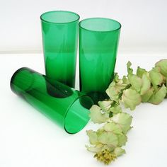 Green Glassware Pantone Emerald Anchor Hocking Glasses Set of 3