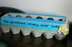 "The 12 Days of Easter!! Scripture Story: The Greatest Story Ever Told!! After Easter dinner we refresh their memory of why we celebrate Easter. Each egg containing the next part of the story. To make the egg carton look cute, I mod podged some fabric, glued ribbon on and put vinyl that said ""the greatest story ever told""."